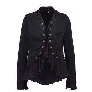 Free people romantic ruffle military jacket xs